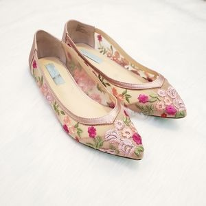 Pink Betsy Johnson Floral Leah Flats size 7.5
